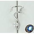 Серебряная серьга-кафф с фианитом для левого уха