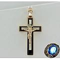 Золотой крест с агатом и фианитами