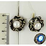Серебряные серьги с жемчугом и эмалью
