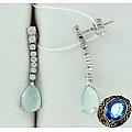 Серебряные серьги с ониксом и кристаллами Сваровски