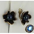 Серебряные серьги с черным жемчугом и эмалью