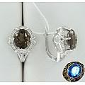 Серебряные серьги с раухтопазами и фианитами