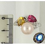 Серебряное кольцо с топазом, цитрином, жемчугом и фианитами