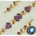 Золотой браслет с аметистами