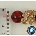 Бусы с янтарем и кристаллами Сваровски