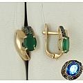 Золотые серьги с зеленым агатом