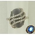 Кольцо из серебра с кошачий глаз и фианитами