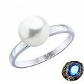 Классическое серебряное кольцо с жемчугом Swarovski