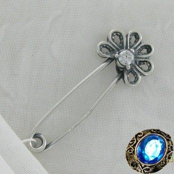 Серебряная булавка с фианитом
