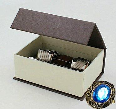Комплект серебряный зажим для галстука с фианитом и запонки