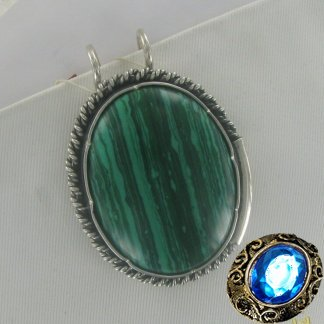 Серебряная заколка для волос с малахитом
