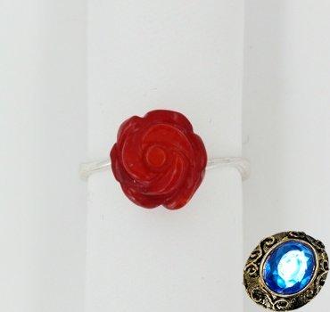 """Кольцо с кораллом """"Роза"""""""