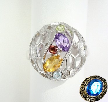 Серебряное кольцо с топазом, аметистом, гранатом, хризолитом, цитрином и цирконием
