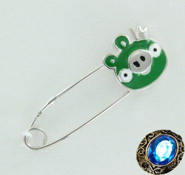 Детская серебряная булавка с бриллиантом
