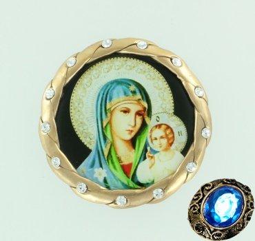 """Серебряная икона для автомобиля """"Пресвятая Богородица"""""""