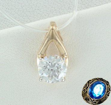 Золотая подвеска с кристаллом Сваровски