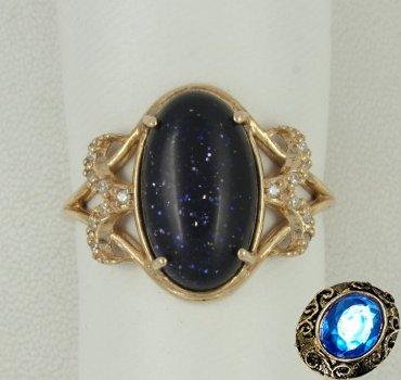 Серебряное кольцо с авантюрином и фианитами