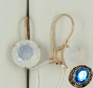 Золотые серьги с лунным камнем ( иск)